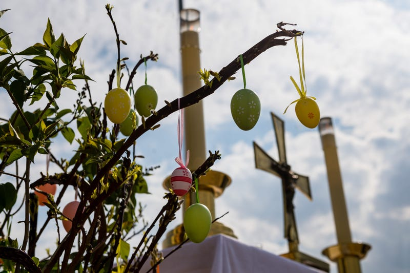 A temporary altar during an Easter Sunday religious service in a parking lot of the Messe Erfurt trade fair grounds during the coronavirus crisis on April 12, 2020 in Erfurt, Germany.