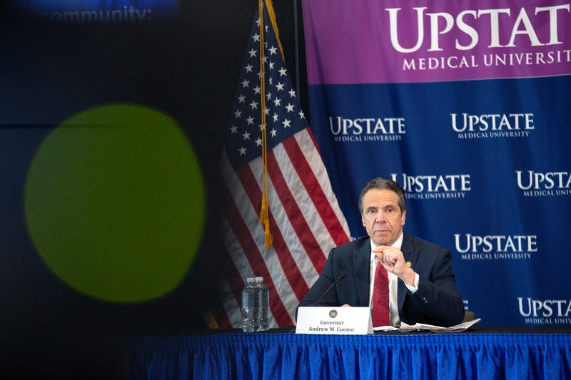 New York State Governor Andrew Cuomo speaks during his daily Coronavirus press briefing at SUNY Upstate Medical University on April 28, 2020 in Syracuse, New York.