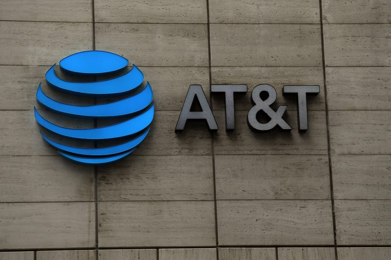 The logo of AT&T outside of AT&T corporate headquarters on March 13, 2020 in Dallas, Texas.
