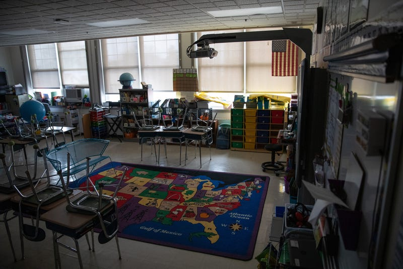 A class sits empty at the KT Murphy Elementary School on March 17, 2020 in Stamford, Connecticut.