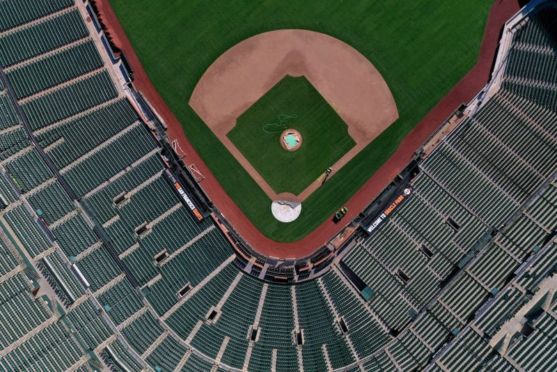 An aerial view from a drone shows Oracle Park, home of the San Francisco Giants, empty on Opening Day March 26, 2020