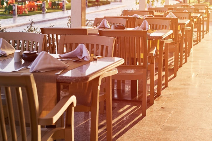 Restaurant seating outdoors