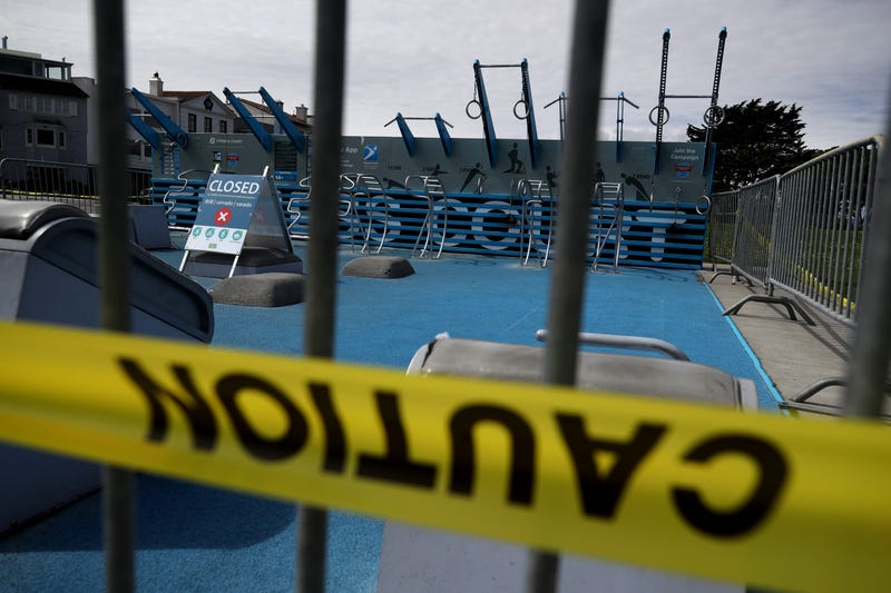Exercise equipment at the Marina Green is closed off to the public on March 30, 2020 in San Francisco.
