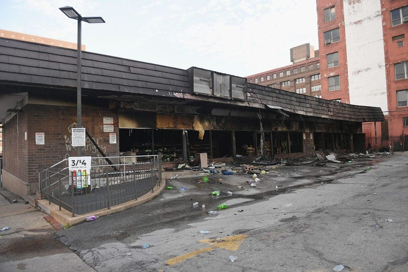 A 7-11 that was burned down in St. Louis by rioters