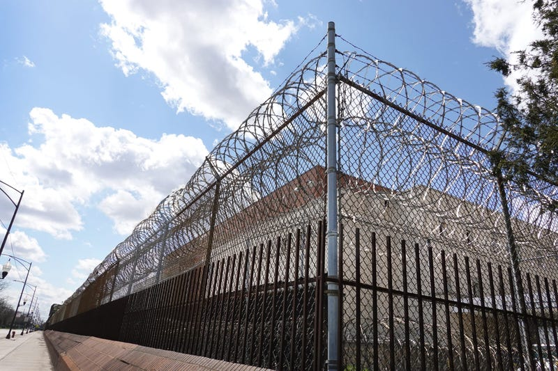 A fence surrounds the Cook County jail complex on April 09, 2020 in Chicago, Illinois. With nearly 400 cases of COVID-19 having been diagnosed among the inmates and employees, the jail is nation's largest-known source of coronavirus infections.