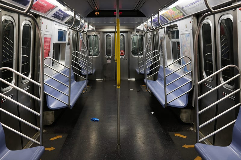 A subway car stands empty during the Coronavirus outbreak on April 13, 2020 in New York City.