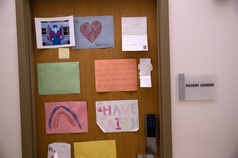 Drawings and messages honoring medical workers hang in a Stamford Hospital intensive care unit (ICU), on April 24, 2020 in Stamford, Connecticut.