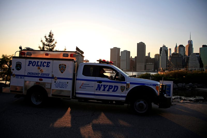 A NYPD vehicle patrols the piers during the coronavirus pandemic on May 03, 2020 in the Brooklyn borough of New York City.