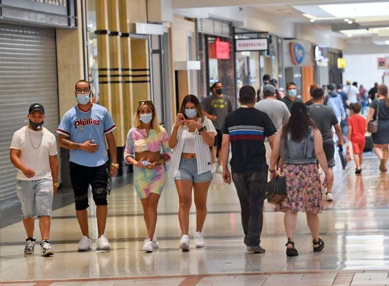 People wearing masks at mall.