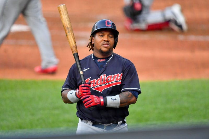 CLEVELAND, OHIO - JULY 09: Jose Ramirez #11 of the Cleveland Indians walks back to the dugout after striking out during the third inning of an intrasquad game during summer workouts at Progressive Field on July 09, 2020 in Cleveland, Ohio. (Photo by Jason