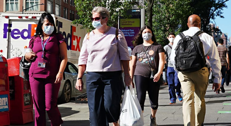 People wearing masks in New York City