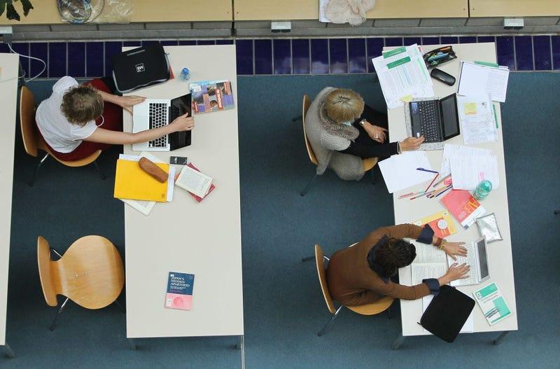 Students working on homework