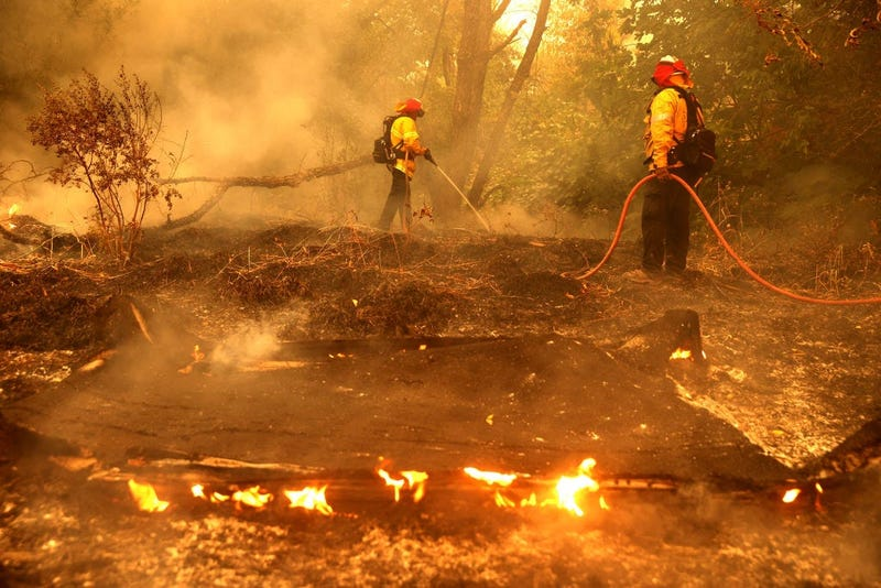 Pacific Gas and Electric firefighters extinguish spot fires as the LNU Lightning Complex fire burns through the area on August 19, 2020 in Fairfield, California.