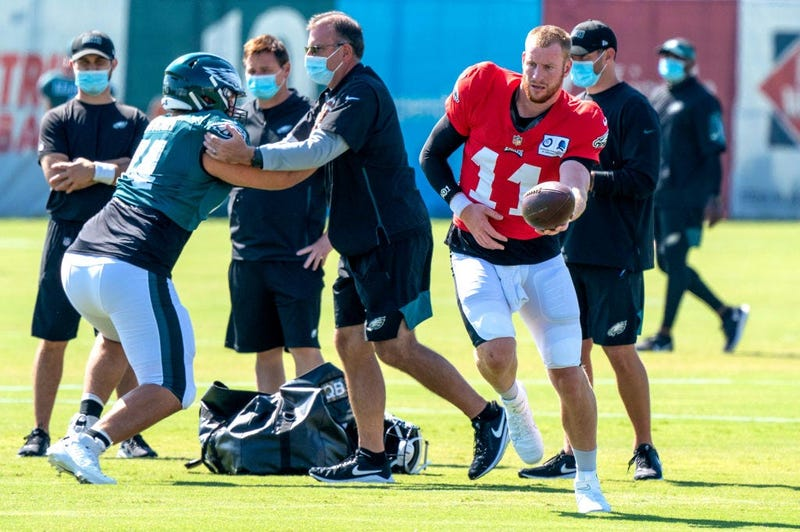 Carson Wentz #11 of the Philadelphia Eagles looks on hand off the ball during training camp at NovaCare Complex