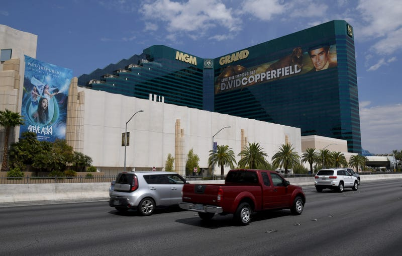 Vehicle traffic on Tropicana Avenue passes by MGM Grand Hotel & Casino on the Las Vegas Strip amid the spread of coronavirus (COVID-19) on August 28, 2020 in Las Vegas, Nevada.