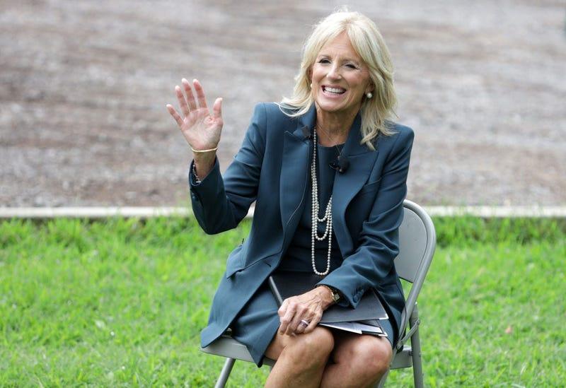 Dr. Jill Biden, wife of Democratic presidential candidate former Vice President Joe Biden, gestures during a visit at Evan G. Shortlidge Academy on September 1, 2020 in Wilmington, Delaware.