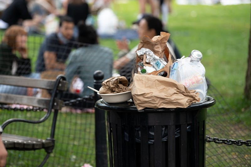Trash overflows in Washington Square Park as the city continues Phase 4 of re-opening following restrictions imposed to slow the spread of coronavirus on September 12, 2020 in New York City.