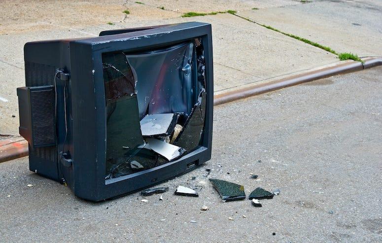 Broken, TV, Television, Screen, Street, Damaged