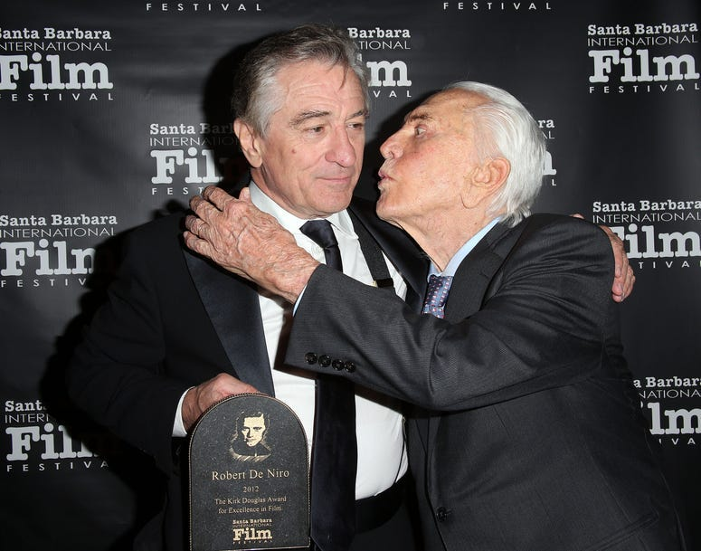 Robert De Niro (L) and Kirk Douglas attend the SBIFF's 2012 Kirk Douglas Award For Excellence In Film during the Santa Barbara Film Festival on December 8, 2012 in Goleta, California. (Frederick M. Brown/Getty Images)