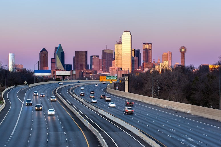 Downtown Dallas, Skyline. Evening, Highway, Driving, Traffic