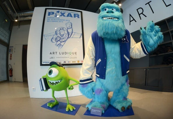 """Characters Sulli and Bob from the film """"Monsters and Cie"""" sit on display at 'Pixar, 25 years of Animation' exhibition on November 14, 2013 in Paris, France. The Art Ludique Museum will open its doors on November 16 with the Pixar exhibition."""