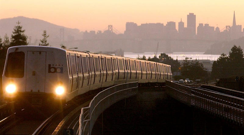 A Bay Area Rapid Transit (BART) train is seen in this undated file photo as it pulls into Oakland, California.