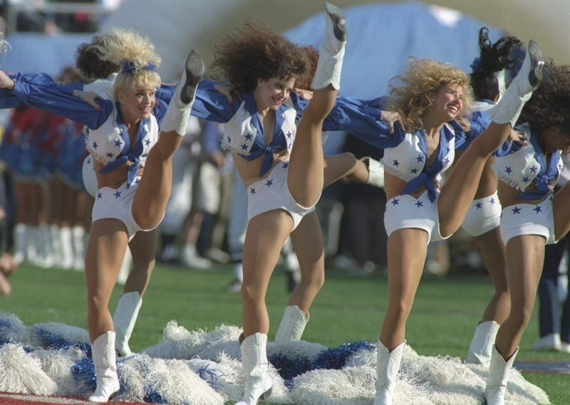 The Dallas Cowboys cheerleaders perform during Super Bowl XXVII against the Buffalo Bills at the Rose Bowl in Pasadena, California. The Cowboys won the game, 52-17.
