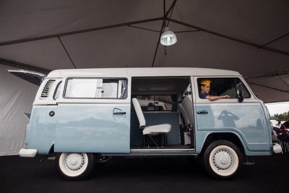 A Volkswagen Kombi minibus is displayed during an exhibition of the vehicles on December 8, 2013 in Sao Bernardo do Campo, Brazil. The event celebrates the last of the iconic Volkswagen minibuses to come off the assembly line in Brazil, which was the last
