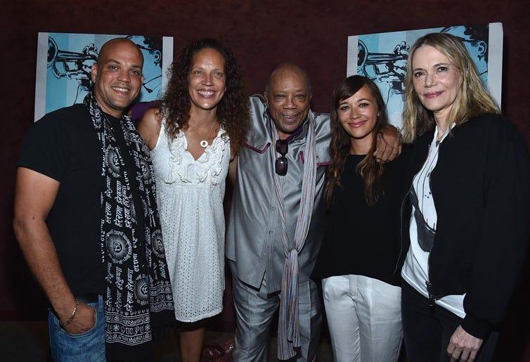 Quincy Jones III, Martina Jones, producer Quincy Jones, actress Rashida Jones and actress Peggy Lipton arrive to the premiere of RADIUS-TWC's