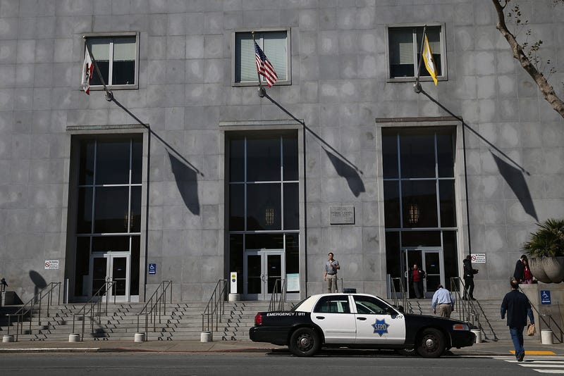 A San Francisco police car sits parked in front of the Hall of Justice on February 27, 2014.