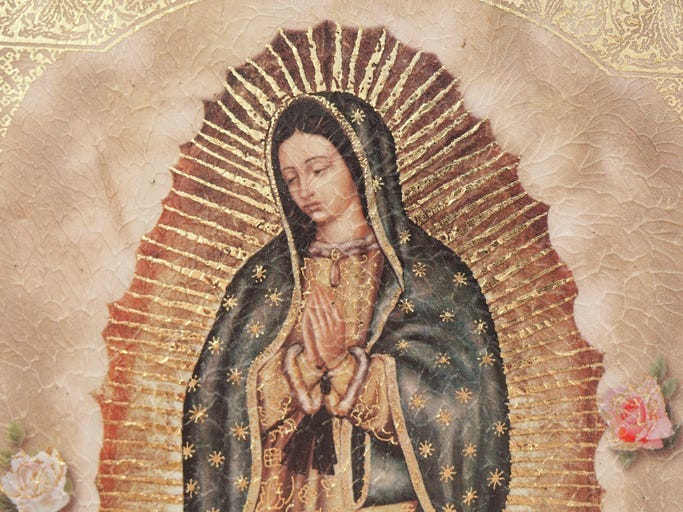 A painting of Our Lady of Gualalupe