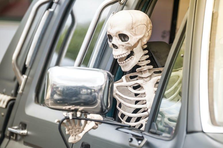Skeleton, Driving, Drive Thru, Car