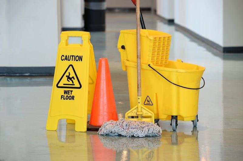 Mop bucket, orange cone, cleaning supplies