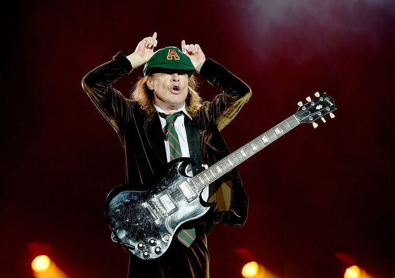 Angus Young AC/DC devil horns