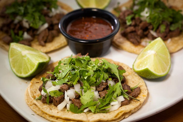 Traditional restaurant mexican tacos