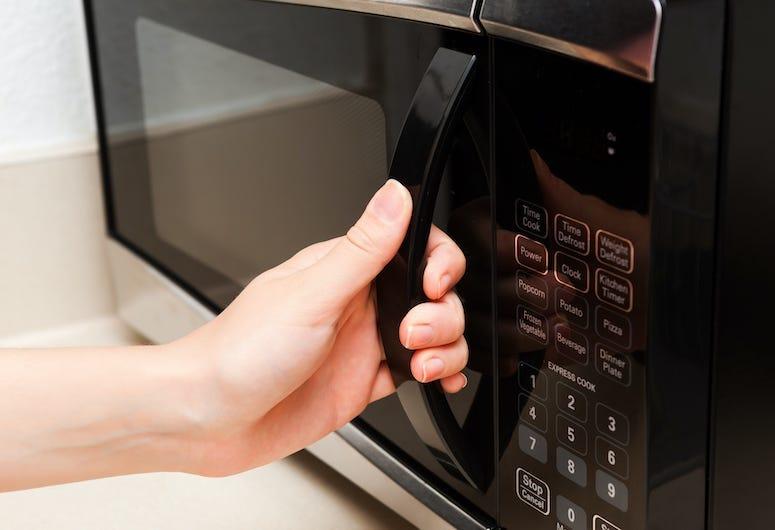 Hand, Microwave, Kitchen