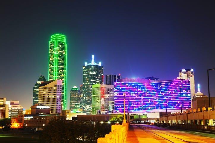 Dallas, Texas cityscape at the night time