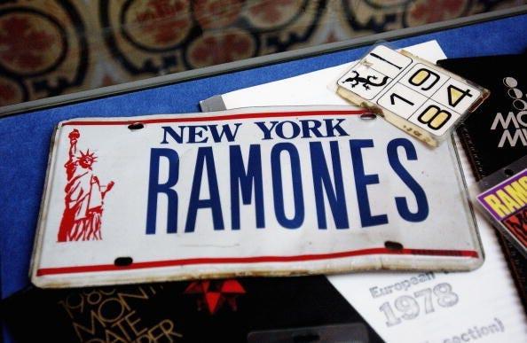 Ramones memorabilia sits on display at The Ramones 30th Anniversary Party
