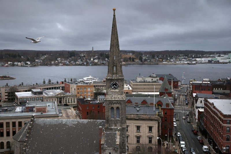 A gull flies over downtown on March 14, 2016 in New London, CT.