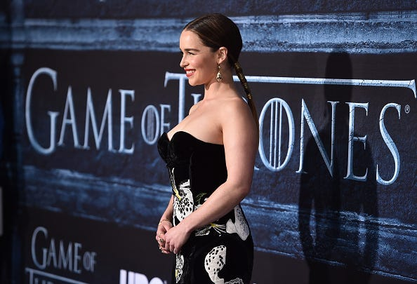 """Actress Emilia Clarke attends the premiere of HBO's """"Game Of Thrones"""" Season 6 at TCL Chinese Theatre on April 10, 2016 in Hollywood, California."""