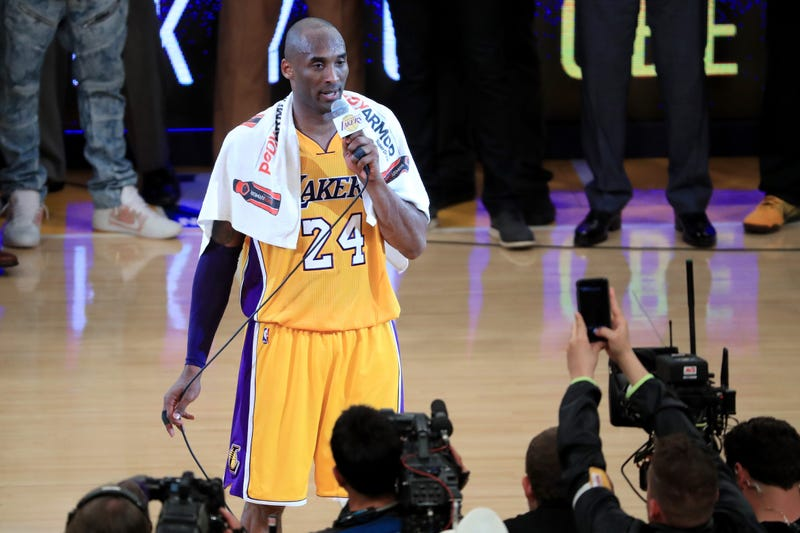 APRIL 13: Kobe Bryant #24 of the Los Angeles Lakers addresses the crowd after scoring 60 points in his final NBA game at Staples Center on April 13, 2016 in Los Angeles, California. The Lakers defeated the Utah Jazz 101-96.