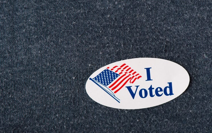 """Closeup of an American """"I voted"""" sticker"""