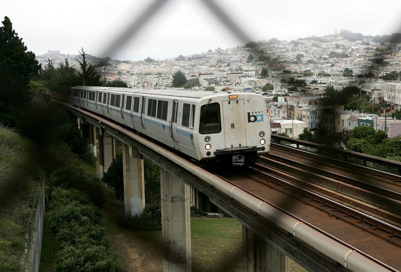 A BART train is seen in San Francisco on July 5, 2005.