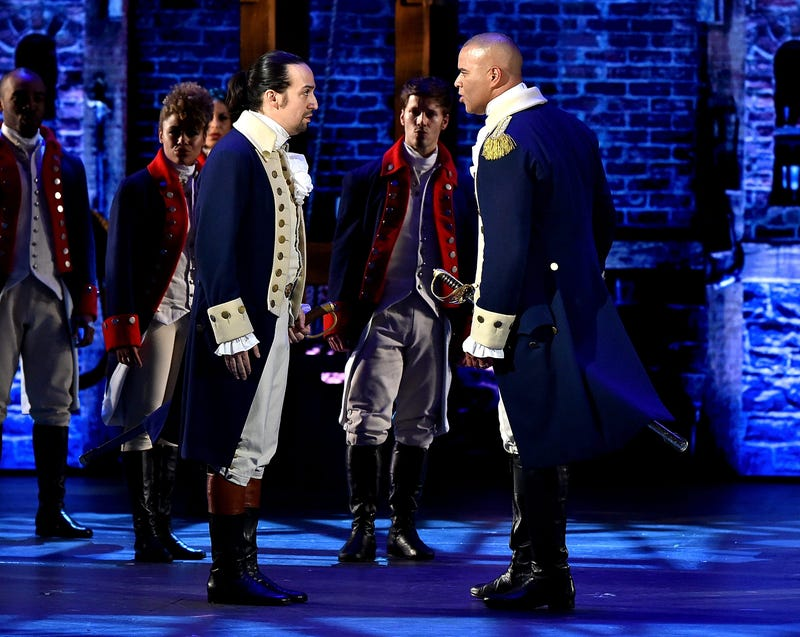 Lin-Manuel Miranda and Christopher Jackson of 'Hamilton' perform onstage during the 70th Annual Tony Awards at The Beacon Theatre on June 12, 2016 in New York City.