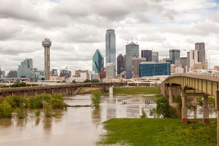 Dallas downtown skyline view with the Trinity River in foreground.Texas, United States