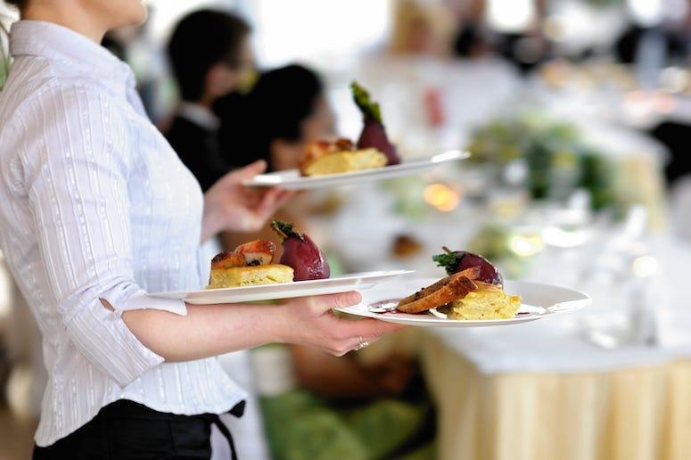 Waitress, Wedding, Meal, Food, Bride, Groom