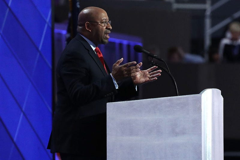 Former Philadelphia Mayor Michael Nutter delivers remarks on the fourth day of the Democratic National Convention at the Wells Fargo Center.