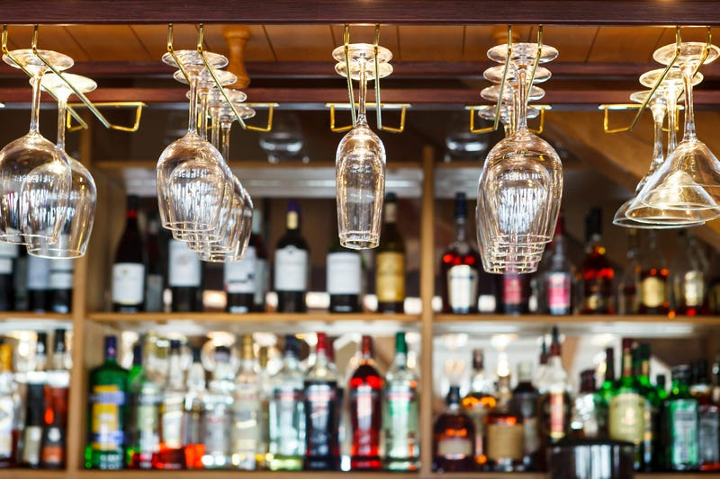Bar with liquor bottles and glasses