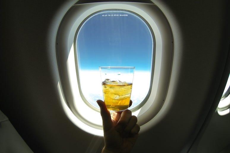Alcohol, Cocktail, Airplane, Flight, Window