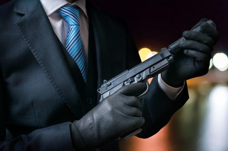 Killer, Gun, Hand, Gloves, Suit
